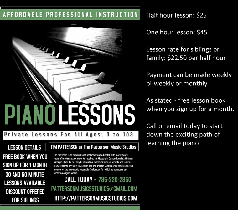 Piano Lessons flyer with information